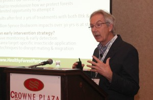 Dr. David MacLean of UNB, speaking on Spruce Budworm intervention. Photo: Forest NB